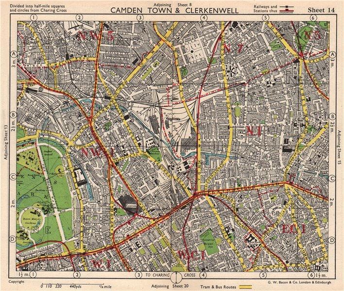 Associate Product N LONDON. Camden/Kentish Town Clerkenwell Bloomsbury Islington. BACON 1948 map