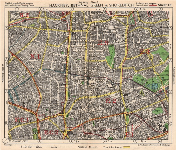 NE LONDON. Hackney Bethnal Green Shoreditch Hoxton Canonbury. BACON 1948 map