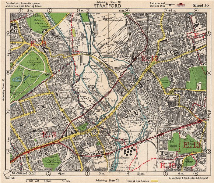 Associate Product NE LONDON. Stratford Bow Hackney Wick West Ham Old Ford Plaistow.BACON 1948 map