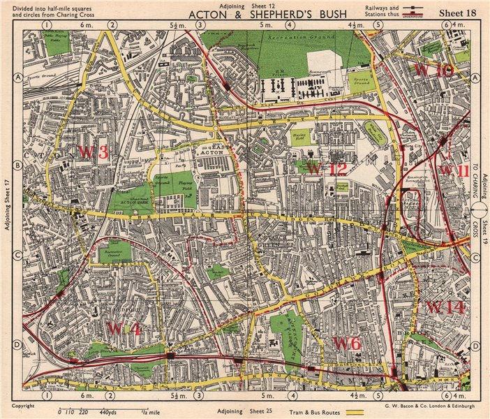 Associate Product W LONDON. Acton Shepherd's Bush Brook Green West Kensington. BACON 1948 map
