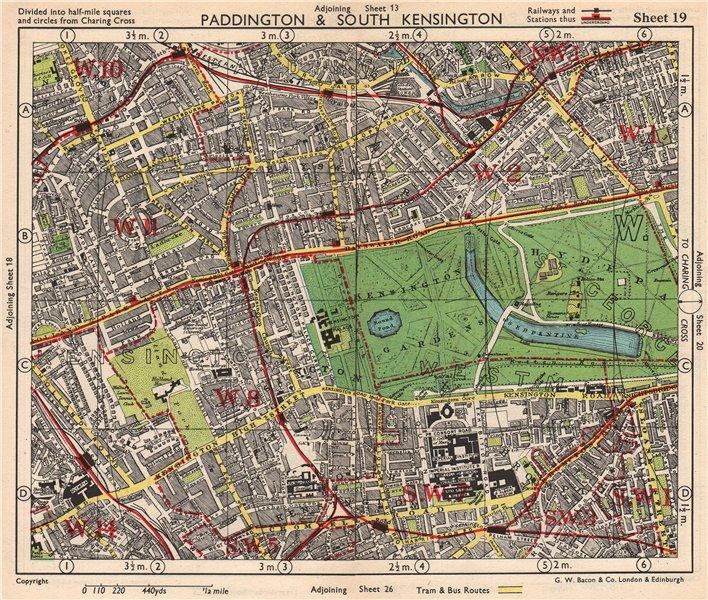 Associate Product W LONDON. Paddington South Kensington Bayswater Notting Hill. BACON 1948 map