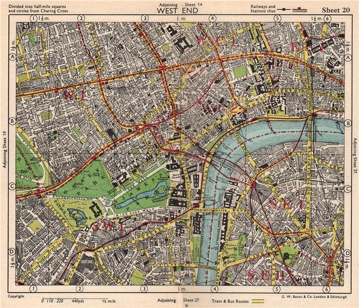 Associate Product LONDON WEST END. Soho Mayfair Marylebone Lambeth Holborn. BACON 1948 old map