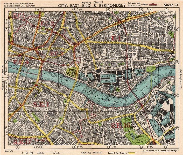 Associate Product LONDON. City East End Bermondsey Stepney Rotherhithe Whitechapel.BACON 1948 map