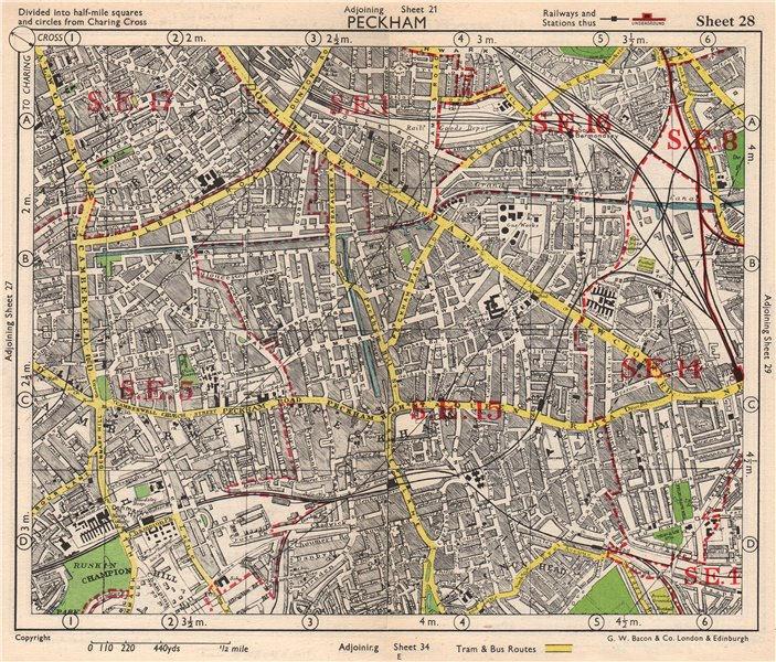 Associate Product SE LONDON. Peckham Camberwell Hatcham Denmark Hill Surrey canal. BACON 1948 map