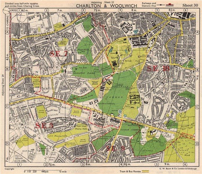 SE LONDON. Charlton Woolwich Shooters Hill Eltham Kidbrooke. BACON 1948 map