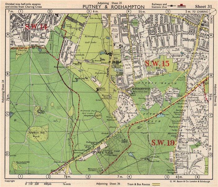 Associate Product SW LONDON. Putney Roehampton Richmond Park Wimbledon Common. BACON 1948 map