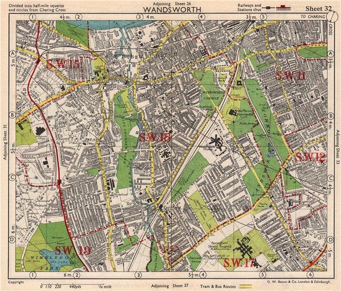 SW LONDON. Wandsworth E Putney Wimbledon Earlsfield Southfields. BACON 1948 map