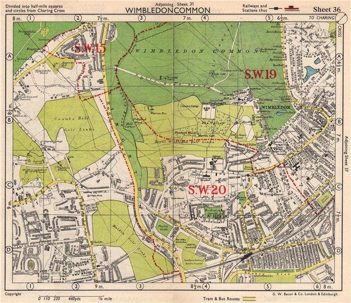 Associate Product SW LONDON. Wimbledon Common Cottenham Park Malden Coombe Hill. BACON 1948 map