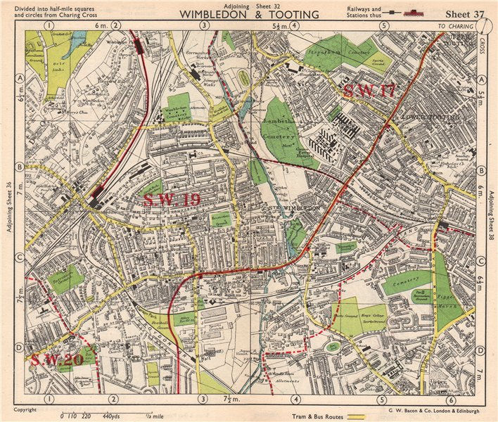 Associate Product SW LONDON. Wimbledon Tooting Merton Morden Upper Mitcham. BACON 1948 old map