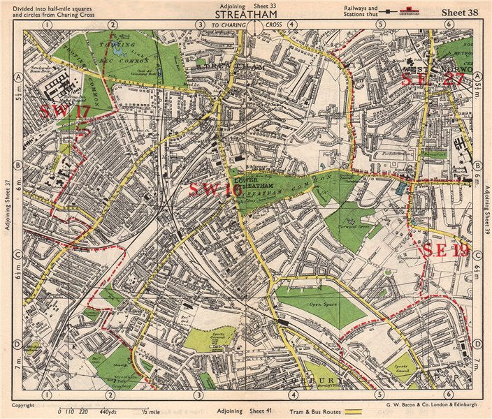 Associate Product S LONDON. Streatham/Vale Norbury Tooting Bec West Norwood. BACON 1948 old map
