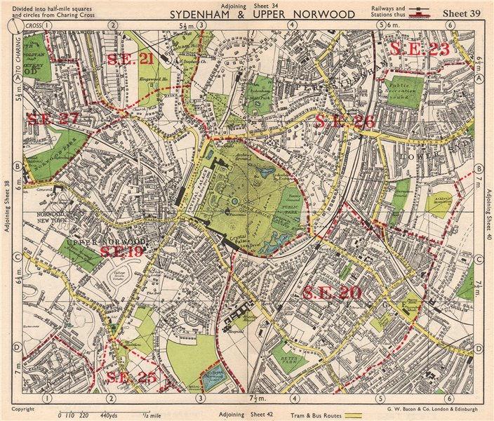 Associate Product SE LONDON. Sydenham Upper Norwood Crystal Palace Sydenham Penge. BACON 1948 map