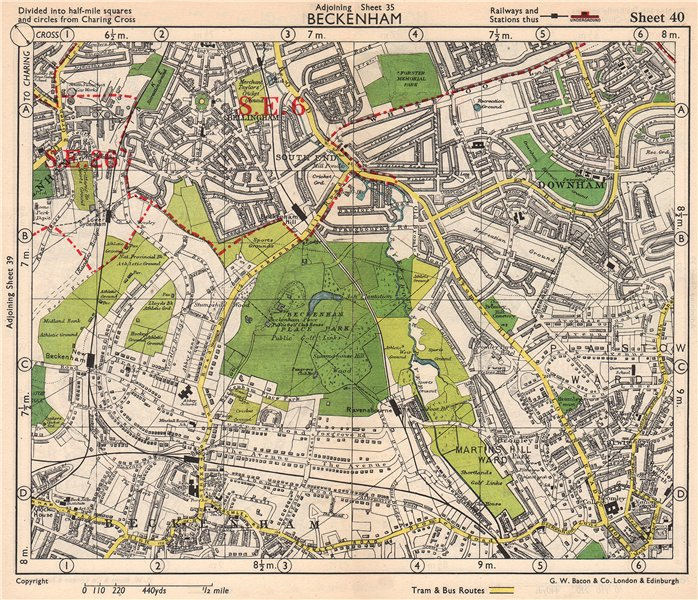 Associate Product SE LONDON. Beckenham Downham Bellingham Bromley Bell Green. BACON 1948 old map