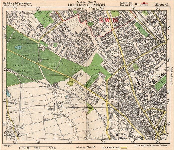 Associate Product S LONDON. Mitcham Common Thornton Heath Croydon Beddington. BACON 1948 old map