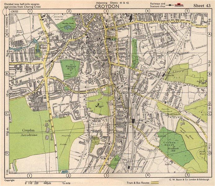 Associate Product S LONDON. Croydon Aerodrome Selsdon Waddon Sanderstead. BACON 1948 old map