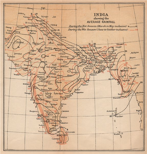 Associate Product INDIA. showing average Rainfall during Monsoon & dry seasons. Isohyets 1929 map