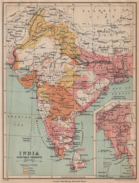 Associate Product INDIA. Agricultural produce. Rice Wheat Cotton Sugar Opium Coffee Tea 1929 map