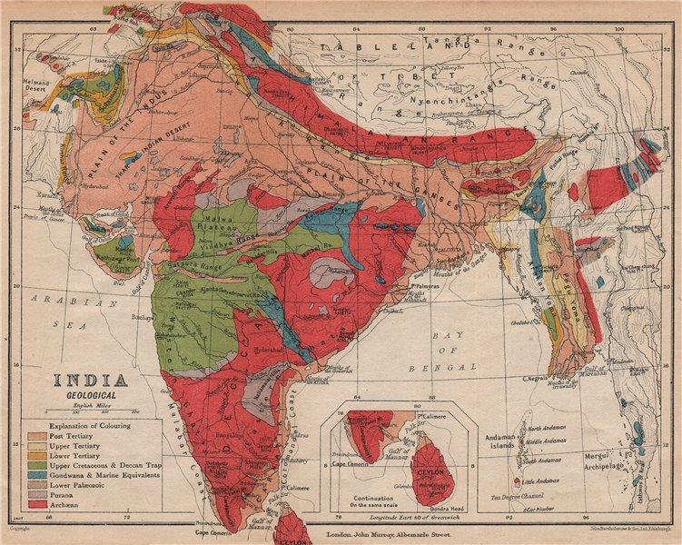 Associate Product INDIA. Geological map. Tertiary Cretaceous Archaean Purana Gondwana 1929