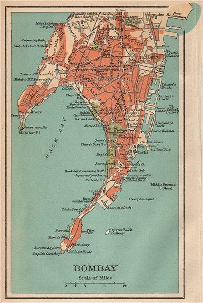 Associate Product BRITISH INDIA. Bombay (Mumbai) city plan.Key buildings docks Gymkhanas 1929 map