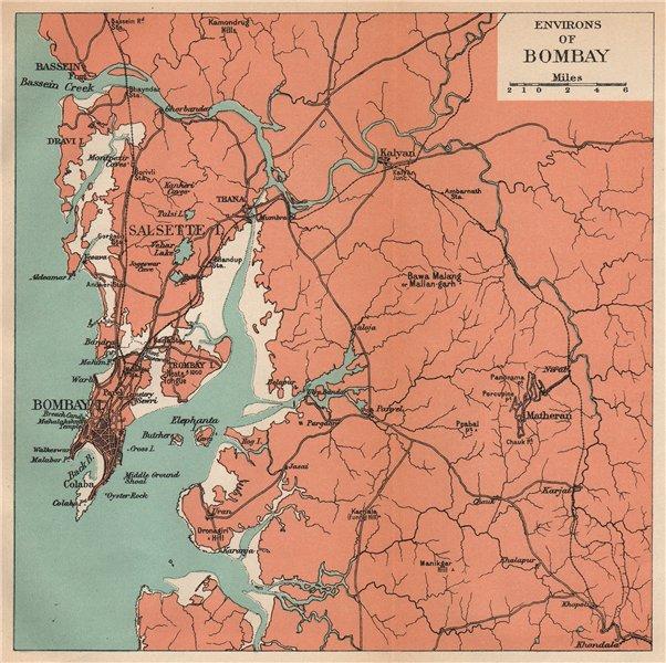 Associate Product INDIA. Bombay (Mumbai) environs. Maharashtra. Salsette Matheran Kalyan 1929 map