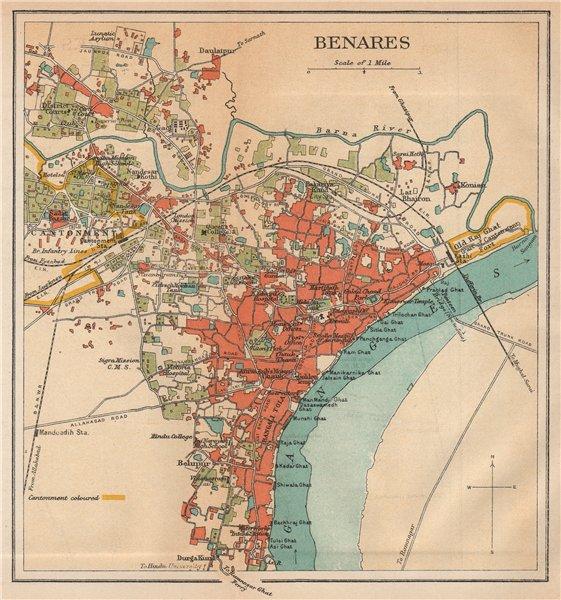 Associate Product BRITISH INDIA. Benares (Varanasi)  city plan.Ganges temples cantonment 1929 map