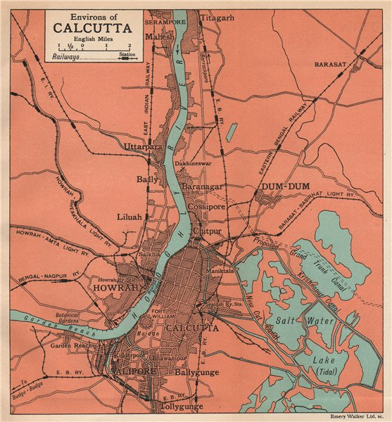 BRITISH INDIA. Environs of Calcutta (Kolkata). Hooghly. Howrah Alipore 1929 map