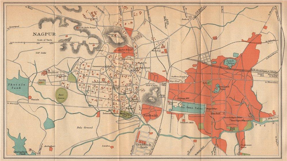 BRITISH INDIA. Nagpur city plan. Maharashtra. 1929 old vintage map chart