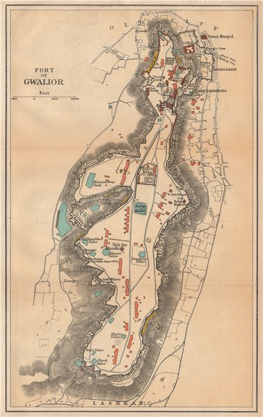 Associate Product INDIA. Fort of Gwalior. Plan. Madhya Pradesh. 1929 old vintage map chart