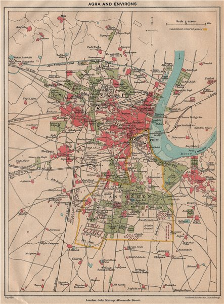Associate Product BRITISH INDIA. Agra & environs. Showing Cantonment, Fort & Taj Mahal 1929 map