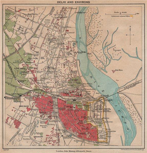 Associate Product BRITISH INDIA. Delhi & environs plan. Showing cantonment & railways 1929 map