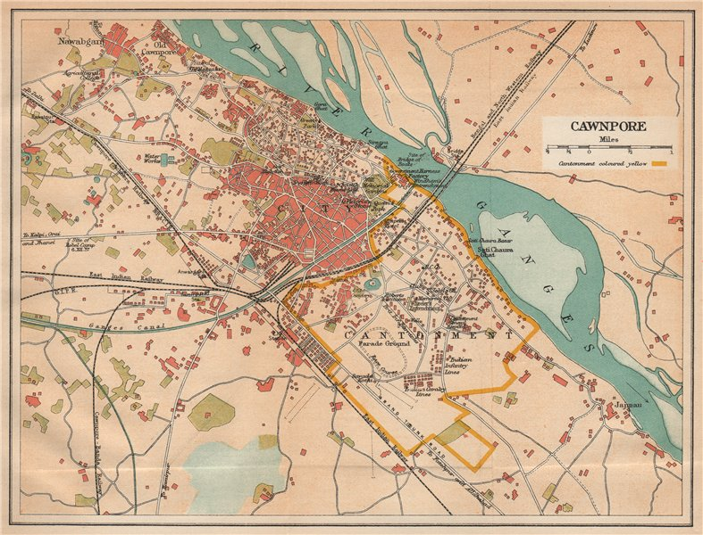 Associate Product BRITISH INDIA. Cawnpore (Kanpur) city plan showing cantonment 1929 old map