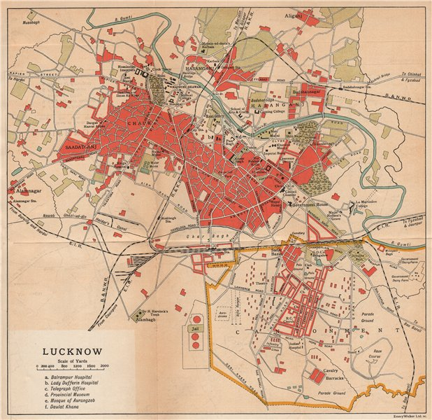 Associate Product BRITISH INDIA. Lucknow city plan showing cantonment 1929 old vintage map chart
