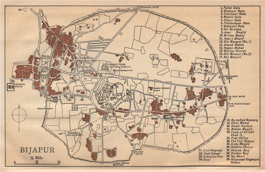 BRITISH INDIA. Bijapur city plan showing palaces/mahal mosques gates 1929 map