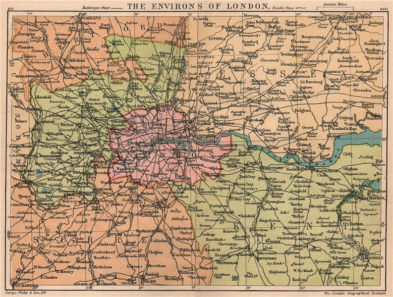 Associate Product LONDON & HOME COUNTIES showing railways & roads. Small vintage map 1932