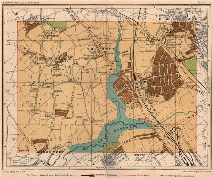 Associate Product NW LONDON. Kingsbury The Hyde Hendon Oxgate Roe Green Willesden 1932 old map