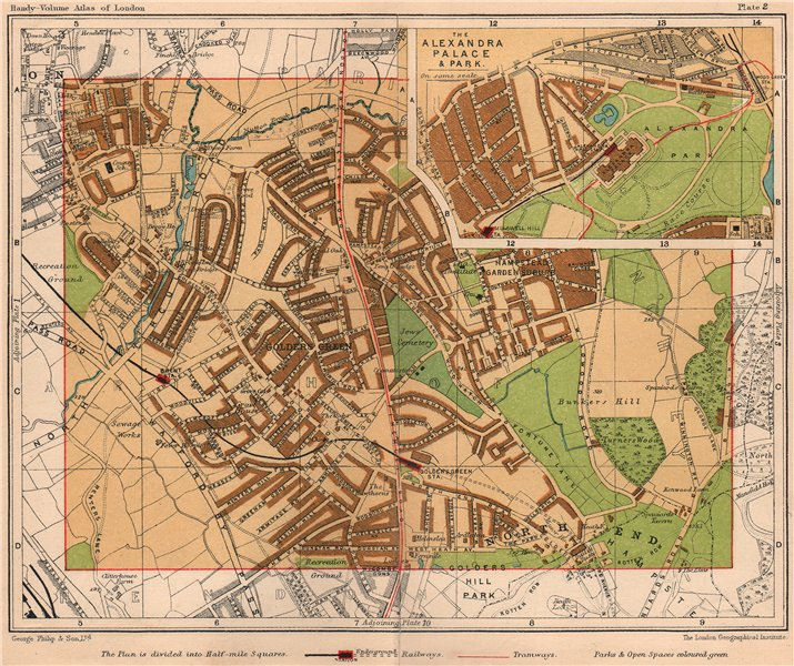 N LONDON Golders Green Hendon Alexandra Palace Hampstead Garden Suburb 1932 map