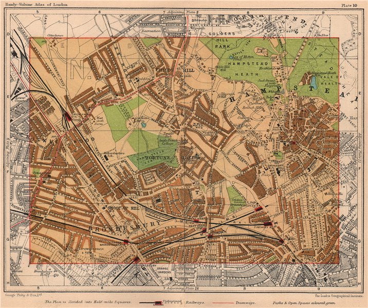 Associate Product NW LONDON. Brondesbury Hampstead Cricklewood Childs Hill Fortune Green 1932 map
