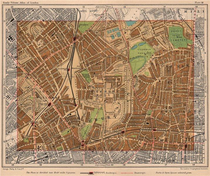 Associate Product N LONDON. Highbury Hill Canonbury Stoke Newington Lower Holloway 1932 old map