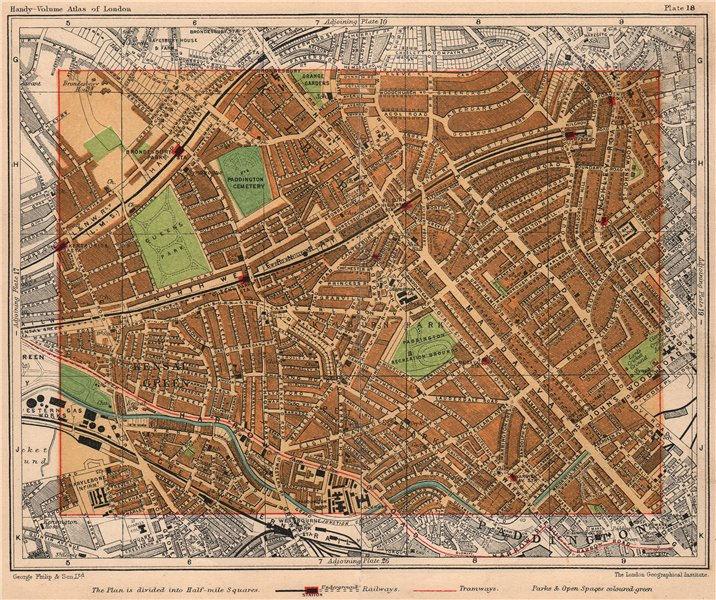 Associate Product NW LONDON. Kensal Green Maida Vale Kilburn Queens Park South Hampstead 1932 map