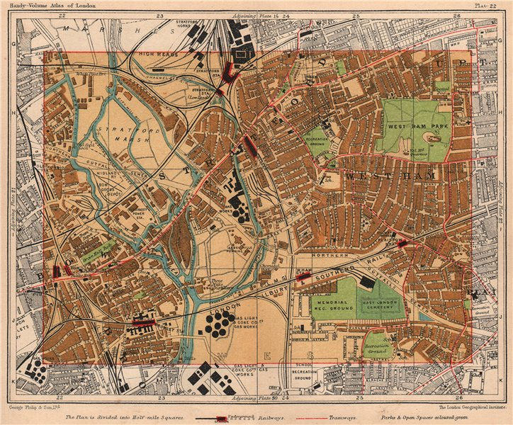 Associate Product E LONDON. Stratford West Ham Bow Plaistow Upton Bromley Old Ford 1932 map