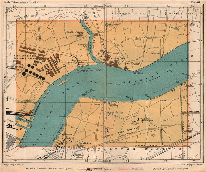 Associate Product E LONDON. Creekmouth Thamesmead Plumstead Marshes Gallions Reach 1932 old map