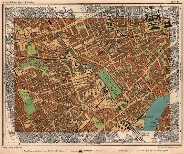 Associate Product SW LONDON. Walham / Parsons Green West Brompton Earls Court Kensington 1932 map