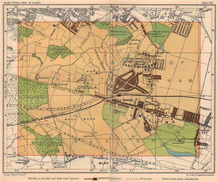 Associate Product SE LONDON. East Wickham Bell Grove Welling Plumstead Bexley Black Fen 1932 map