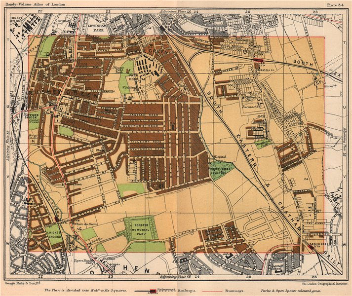 Associate Product SE LONDON. Hither Green Rushey Green Grove Park Catford Lee Bellingham 1932 map
