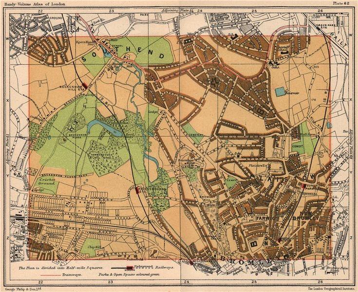 Associate Product SE LONDON. Southend Bromley Plaistow Ravensbourne Beckenham Hill 1932 old map