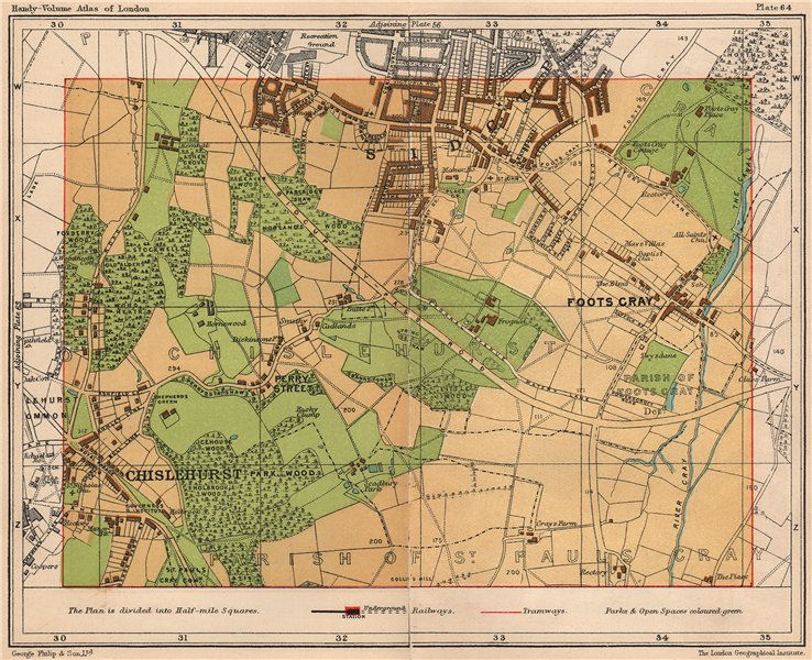 Associate Product SE LONDON. Foots Cray Chislehurst Sidcup Perry Street St Pauls Cray 1932 map