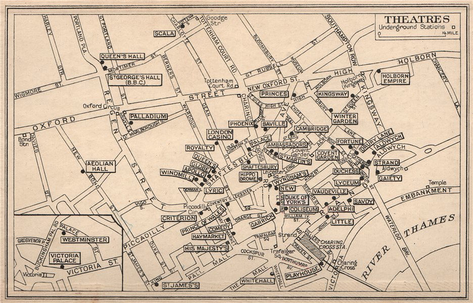 LONDON WEST END THEATRES. Covent Garden St James's Shaftesbury Avenue 1938 map