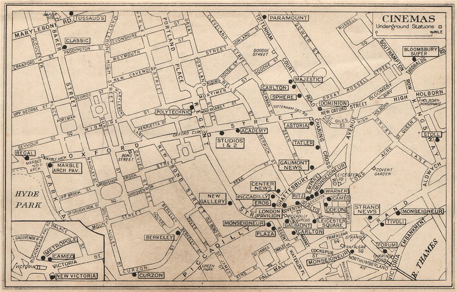 LONDON WEST END CINEMAS & NEWS THEATRES. Leicester Square &c 1938 old map