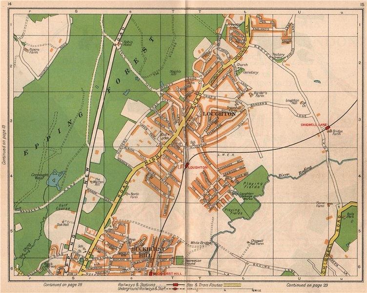 Associate Product NE LONDON. Loughton Epping Forest Buckhurst Hill Debden Chigwell 1938 old map