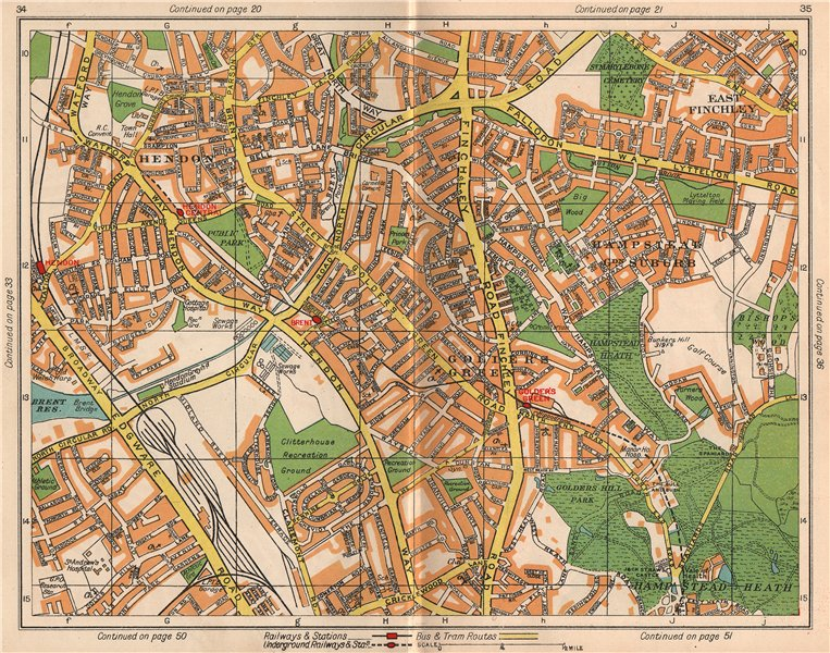 Associate Product NW LONDON. Hendon East Finchley Golder's Green Child's Hill North End 1938 map