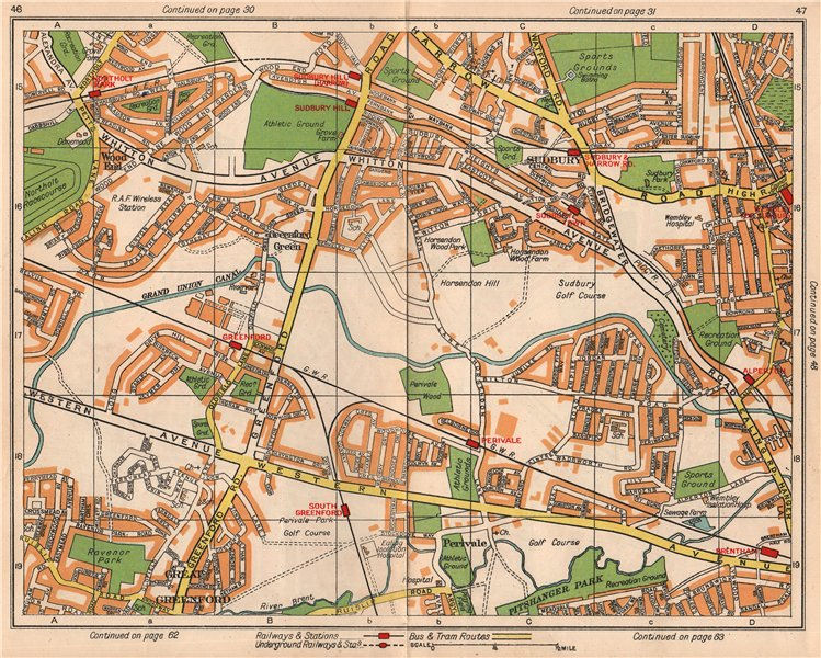 Associate Product NW LONDON. Northolt Perivale Greenford Sudbury Heights Wood End 1938 old map
